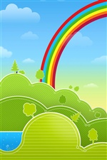 Vector design, green spring, rainbow iPhone wallpaper