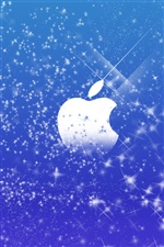 Apple blue stars background iPhone wallpaper