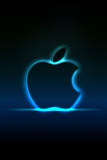 Blue neon Apple iPhone wallpaper