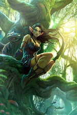 Fantasy elves girl in the forest iPhone wallpaper