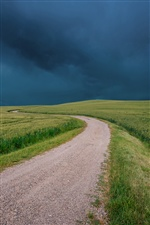 Italy, Tuscany scenery, fields, road, black clouds iPhone Wallpaper