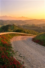 Italy, sunset landscape, road, hills, nature iPhone wallpaper