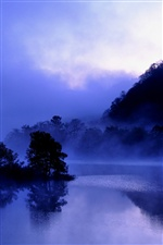 Japan, Fukushima, lake Akimoto, evening, trees, mist, blue iPhone wallpaper