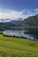 Lake water, fields, grass, greenery, hills iPhone wallpaper