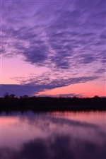 Lake water surface, evening sunset, purple sky iPhone wallpaper