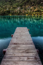 Lake wooden pier iPhone wallpaper
