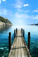 Lake, wooden walkway, blue iPhone wallpaper