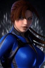 Lara Croft, Tomb Raider, blue clothes iPhone Wallpaper