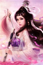 Long hair purple asian girl use sword iPhone wallpaper