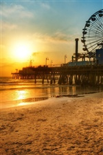 Los Angeles dock, beach sunset iPhone wallpaper
