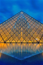 Louvre Museum, Paris, France, glass pyramid, lights iPhone wallpaper