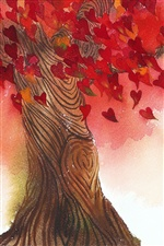 Love heart leaves tree iPhone Wallpaper