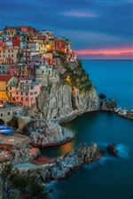 Manarola, Italy, evening sunset, houses, coast, rocks iPhone wallpaper