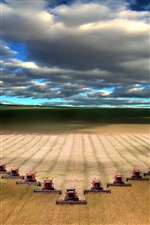 Mechanical harvesting wheat field iPhone wallpaper