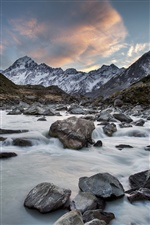 Mount Cook National Park in New Zealand, mountains, rocks, river iPhone wallpaper