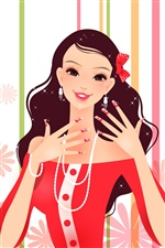 Red dress vector fashion girl iPhone wallpaper