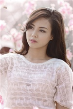 Asian girl white clothes iPhone wallpaper