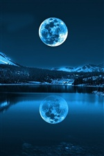 Moon, lake, mountains, cold night iPhone wallpaper