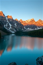 Moraine Lake, Banff National Park, Canada, mountains, dusk iPhone wallpaper