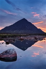 Mountain sunset, lake, water reflection iPhone wallpaper