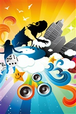 Music Colorful dynamic vector iPhone wallpaper