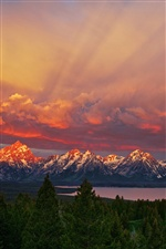 National Park Grand Teton, Wyoming, sunrise, mountains, sky, lake iPhone wallpaper