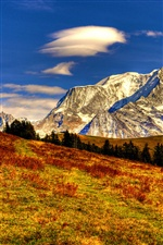Nature autumn landscape, sky, clouds, mountains, yellow iPhone wallpaper