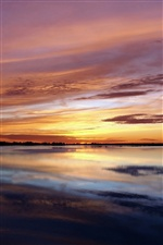 Nature landscape, sea, coast, sunset, red sky iPhone wallpaper