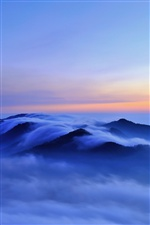 Nature morning landscape, hills, clouds, fog, sunrise, blue iPhone wallpaper