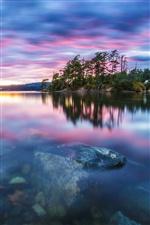 Nature scenery, trees, lake, water, stones, sunset iPhone Wallpaper