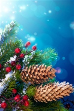 New Year Christmas tree decoration, twigs, berries iPhone wallpaper