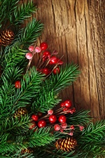 New Year, pine boughs, red decorative balls iPhone wallpaper