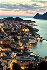 Norway Alesund city, night view, lights, sea, houses iPhone wallpaper