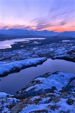 Norway winter scenery, mountains, sunset, snow iPhone wallpaper