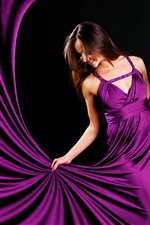 Purple evening dress girl iPhone wallpaper