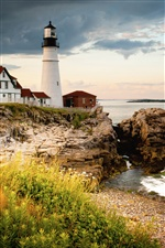 Cape Elizabeth, lighthouse, gulf of Maine, coast iPhone wallpaper