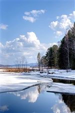 Nature landscape, snow, winter, lake water iPhone wallpaper