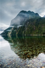 New Zealand, lake, mountains, mist iPhone wallpaper