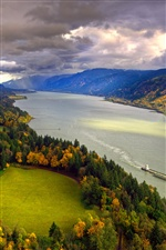 North America, Columbia, river, autumn, trees, sky, clouds iPhone wallpaper