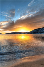 Norway scenery, sea, beach, sunset, mountains iPhone wallpaper
