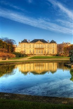 Paris France manor house, lake, sky iPhone Wallpaper