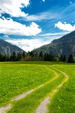 Pasture, the Bavarian Alps, mountains, trees, green field, clouds iPhone wallpaper