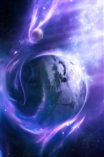 Planet, space, stars, wind, blue iPhone wallpaper