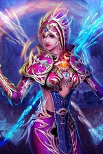 Purple fantasy girl, magic of Ice and Fire iPhone wallpaper