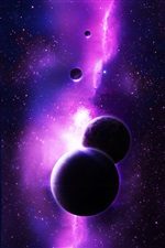 Purple planets, space, stars iPhone wallpaper