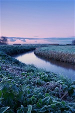 Netherlands winter morning, farm, river, blue sky iPhone wallpaper