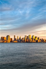 New York, Manhattan, sunset, sea, sky iPhone Wallpaper