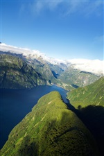 New Zealand, fjord, mountains, sea iPhone Wallpaper