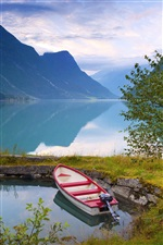 Norway, nature scenery, lake, mountains, clouds, boat iPhone wallpaper