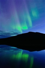 Norway, night, Northern lights, blue, lake iPhone wallpaper